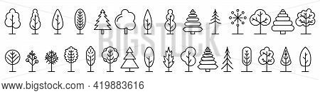 Big Set Of Linear Trees Icons. Isolated Outline Trees Icons. Trees Icons Set In Thin Line Style. Bla