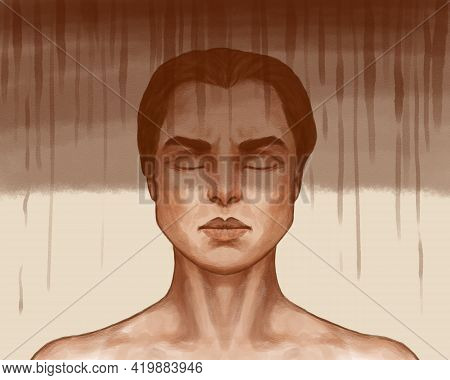 Hand-drawn Art Portrait Of A Man. A Person In Despair And Depression, Drips And Darkness As A Symbol
