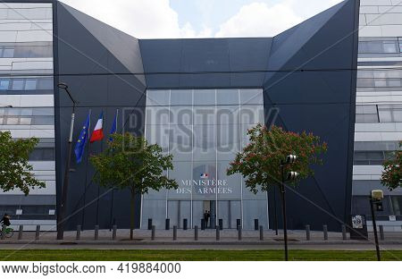Paris, France - May 07, 2021 - Main Entrance Of Hexagone Balard, New Seat Of The French Ministry Of