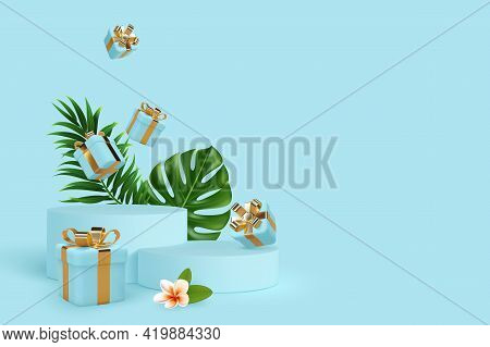 Vector 3d Podium Scene With Falling Gift Boxes And Tropical Leaves. Mockup For Product Presentation