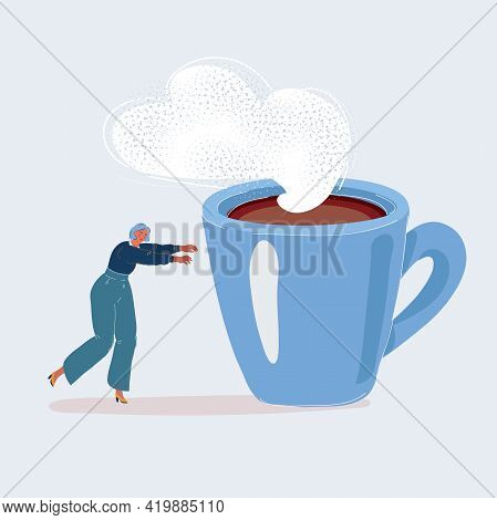 Vector Illustration Of Tired Woman Not Yet Awake Is Walking Towards Big Cup Of Coffee. Tired Woman W