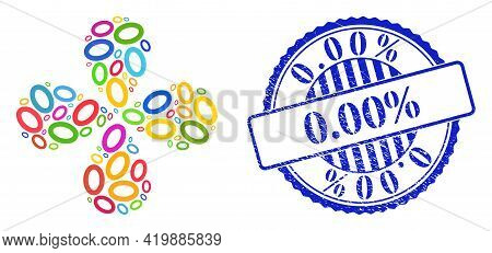 Digit Zero Multi Colored Curl Flower With 4 Petals, And Blue Round 0.00 Percent Rough Badge. Element