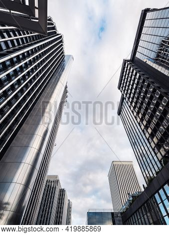 Madrid - May 1, 2021: Low-angle View Of Modern Skyscrapers (torre Europa And Torre Picasso) In The A