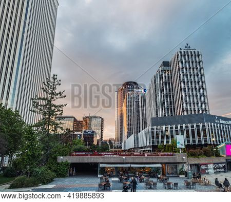Madrid - May 1, 2021: Wide-angle View Of Azca Business And Financial District In Madrid At Dusk, Spa