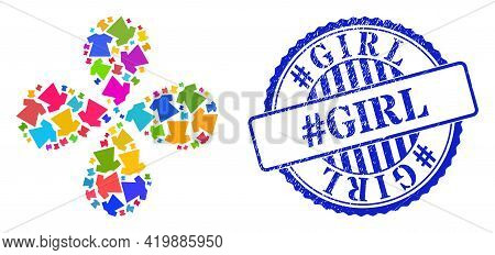 Lady Dress Bright Exploding Flower With 4 Petals, And Blue Round Hashtag Girl Rough Seal. Object Twi