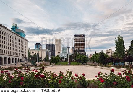 Madrid - May 2, 2021: Wide-angle View Of Azca Business And Financial District In Madrid At Dusk As S