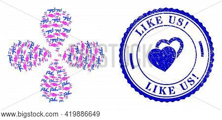 Pregnant Woman Engagement Exploding Abstract Flower, And Blue Round Like Us Exclamation. Rubber Stam