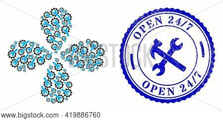 Repair Service Centrifugal Flower With Four Petals, And Blue Round Open 24 - 7 Textured Stamp Print