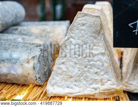 Cheese Collection, French Pouligny Pyramid Cheese Made From Goat Milk In Region Pouligny-saint-pierr