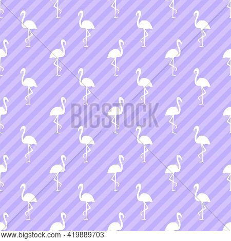 Seamless Line Wallpaper With Flamingos. Abstract Diagonal Stripes. Abstract Stripe Texture. Pattern