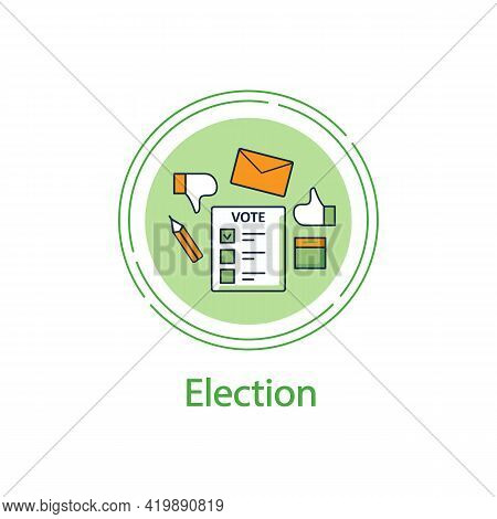 Election Concept Line Icon. Voting Form, Ballot Or Checklist With Check Mark.choice, Vote Concept. D