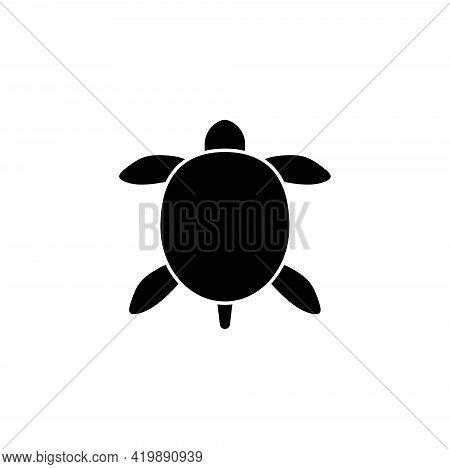 Sea Turtle, Tortoise, Amphibian Reptile. Flat Vector Icon Illustration. Simple Black Symbol On White