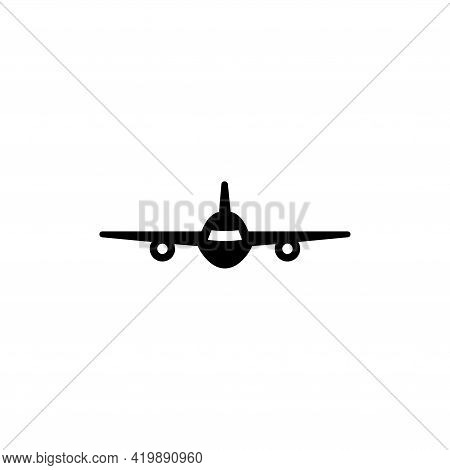 Fly Airplane, Flying Aircraft, Aviation. Flat Vector Icon Illustration. Simple Black Symbol On White