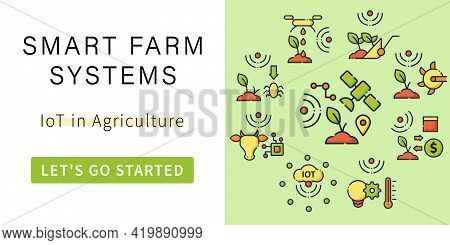 Smart Farm Banner.iot In Agriculture. Digital Farming.template For Landing, Web Page, Layout. Agricu