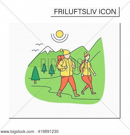 Friluftsliv Color Icon. Family Hiking. Man And Woman Walking. Nice Weather. Mountain Landscape.nordi