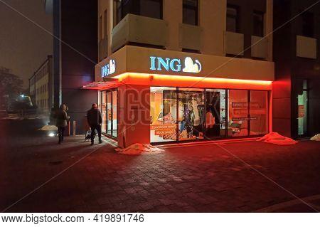 Bedzin, Poland - 18/02/2021 -bank Of The Ing Network In Bedzin
