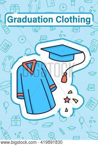 Graduation Dress Brochure. Special Graduate Mantle. Holiday Costume Template. Flyer, Magazine, Poste