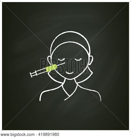 Cosmetic Injection Chalk Icon.woman Doing Injection Into Nose. Nose Lifting.rejuvenation. Full Syrin