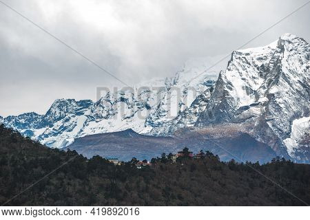 View Of Tengboche Village From Afar. Himalayas Mountains, Nepal