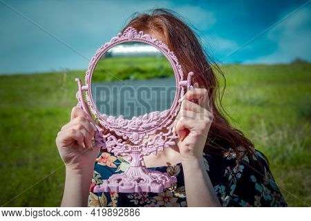 Pretty Woman With A Mirror, Red Haired Woman With A Mirror In The Garden, Woman In The Field