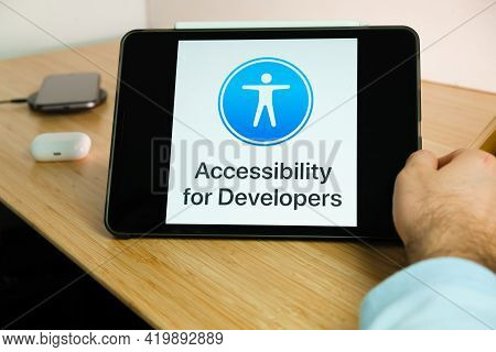 Apple Accessibility For Developers Logo On The Screen Of Ipad Tablet. March 2021, San Francisco, Usa