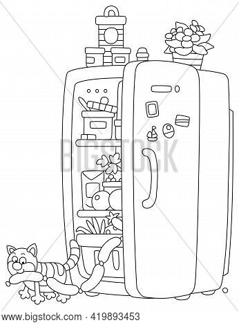 Sly Fat Cat Glutton Filching Tasty Sausages From A Fridge With Foods, Black And White Outline Vector