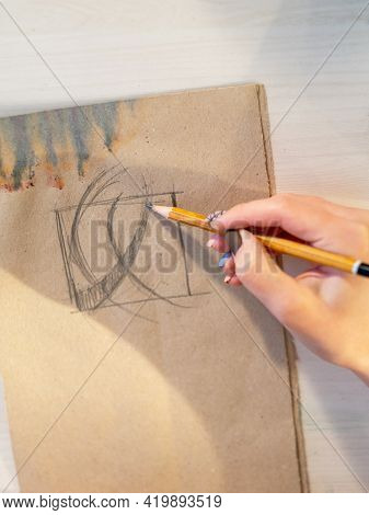 Drawing Art. Craft Skill. Brand Logo Design. Unrecognizable Female Artist Hand Sketching Abstract Dr