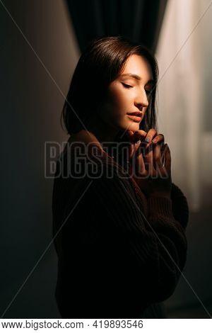 Mysterious Beauty. Art Portrait. Female Tenderness. Profile Silhouette Of Peaceful Pensive Sensual B