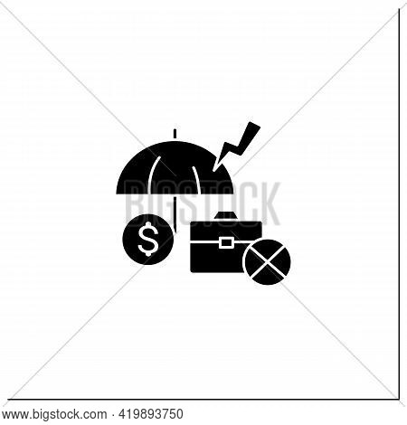 Unemployment Insurance Glyph Icon. Temporary Income For Eligible Workers. Unemployed Protection. Rep
