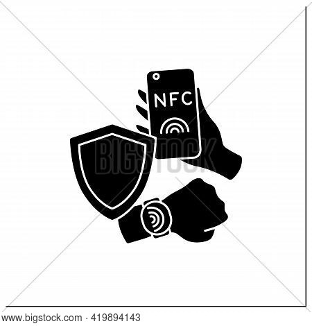 Nfc Glyph Icon. Safety Payment System. Contactless Security On Mobile Phone, Smart Watch. Near Field