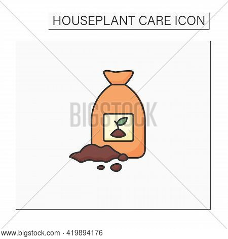 Soil Color Icon. Soil Bag. Necessary For Planting Plants. Rich In Minerals. Houseplant Care Concept.