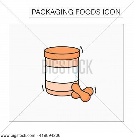Peanut Butter Jar Color Icon. Glass Or Steel Container. Portion Control, Protection, Tampering Resis