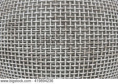 Abstract Industrial Background - Galvanized Metal Mesh Close Up