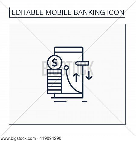 Transaction Limit Line Icon. Cash Limits For Different Operations. Prohibition Transferring Money Be