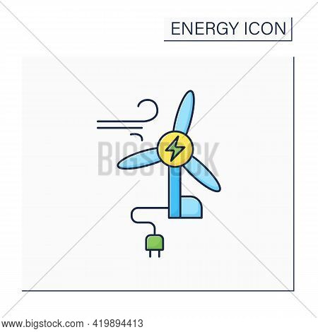 Wind Energy Color Icon. Conversion Of Power From Wind Into Electricity. Windmill. Electricity. Renew