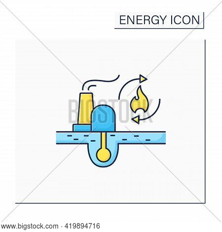 Renewable Fossil Fuels Color Icon. Heat Source. Energy Converted To Electricity. Electricity Station