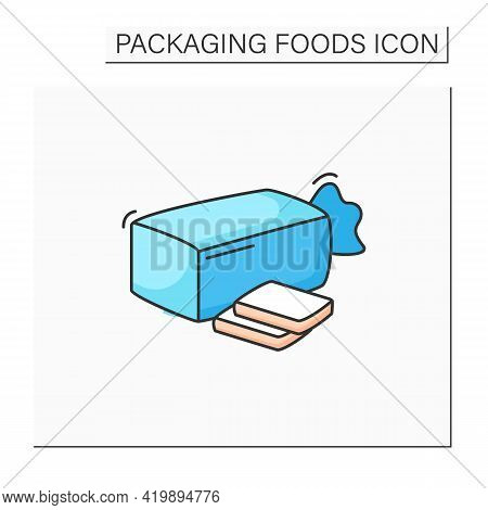 Sandwich Bread Color Icon. Bread In Package.portion Control, Protection, Tampering Resistance From B