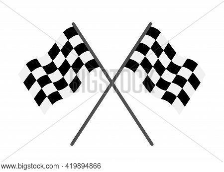 Flag Of Race. Checkered Flag For Start And Finish. Black-white Icon Of Rally For Car. Checker Backgr