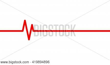 Pulse Line. Heartbeat And Cardiogram On Monitor. Icons Of Heart Beat. Ecg On Graph. Electrocardiogra