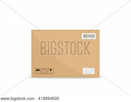 Package Delivery. Box Carton. Cardboard Or Paper Box For Parcel. Brown Icon For Shipping. Crate Of O