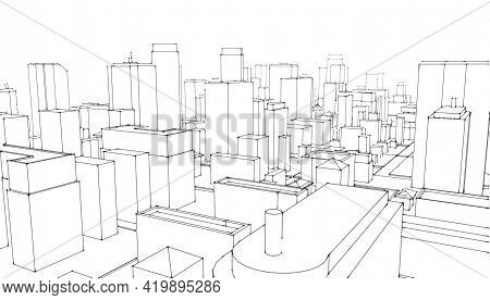 Architectural Sketch.city Skyscrapers .big Cities Cityscapes And Buildings .