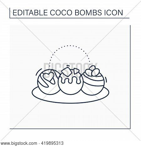 Coco Bombs Line Icon. Delicious Dessert. Cute Balls Of Chocolate With Marshmallows Filling. Candies