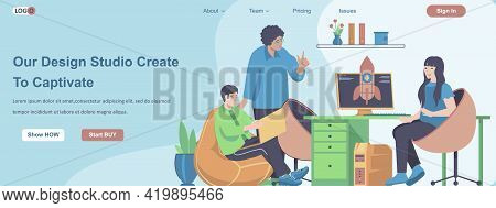 Our Design Studio Create To Captivate Web Banner Concept. Design Team Working On Project In Office,