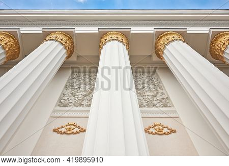 Moscow, Russia - May 07, 2021: Colonnade Of Pavilion N 1, Central, At The Exhibition Of Achievements