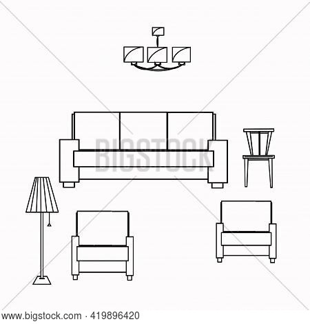 Sofa, Armchair, Chair, Chandelier, Floor Lamp, Living Room, Comfort. Part Of A Set Of Furniture And
