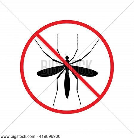 The Silhouette Of A Mosquito In A Red Forbidding Circle.the Stop Mosquito Icon Is A Forbidding Sign.