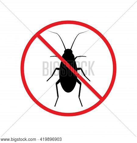 The Silhouette Of A Cockroach In A Red Forbidding Circle.the Stop Cockroach Icon Is A Forbidding Sig
