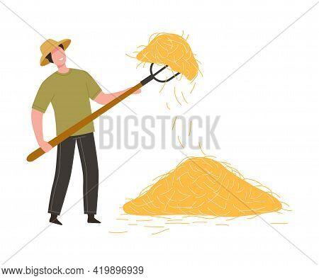 Man Farmer In Straw Hat Holding Pitchfork Gathering Hay In Stack Vector Illustration