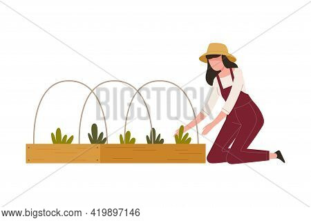 Woman Farmer In Straw Hat Cultivating Soil On Garden Bed Pulling Weeds Vector Illustration