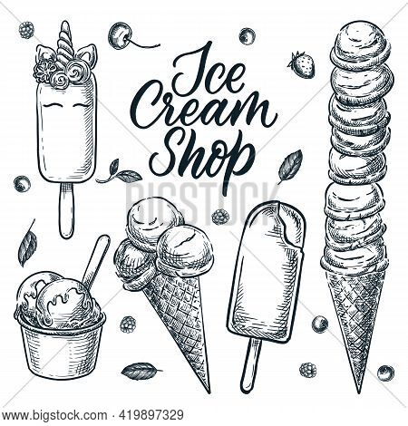 Colorful Ice Cream Cone Icons Set. Vector Cartoon Food Illustration. Sweet Design Elements, Isolated